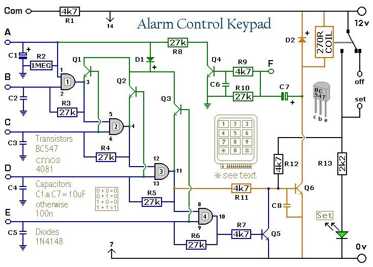 5 Digit Alarm Keypad Circuit DIagram